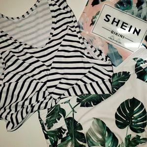 SHEIN Striped & Tropical Print Twist Bikini Swimsu